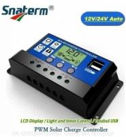 10A PWM (ШИМ) контроллер заряда солнечной панели 12/24V с ЖК-дисплеем,