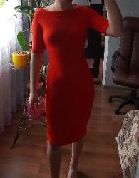 Красное миди платье от zara