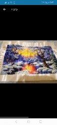 Картина зимний лес вышивка из бисера